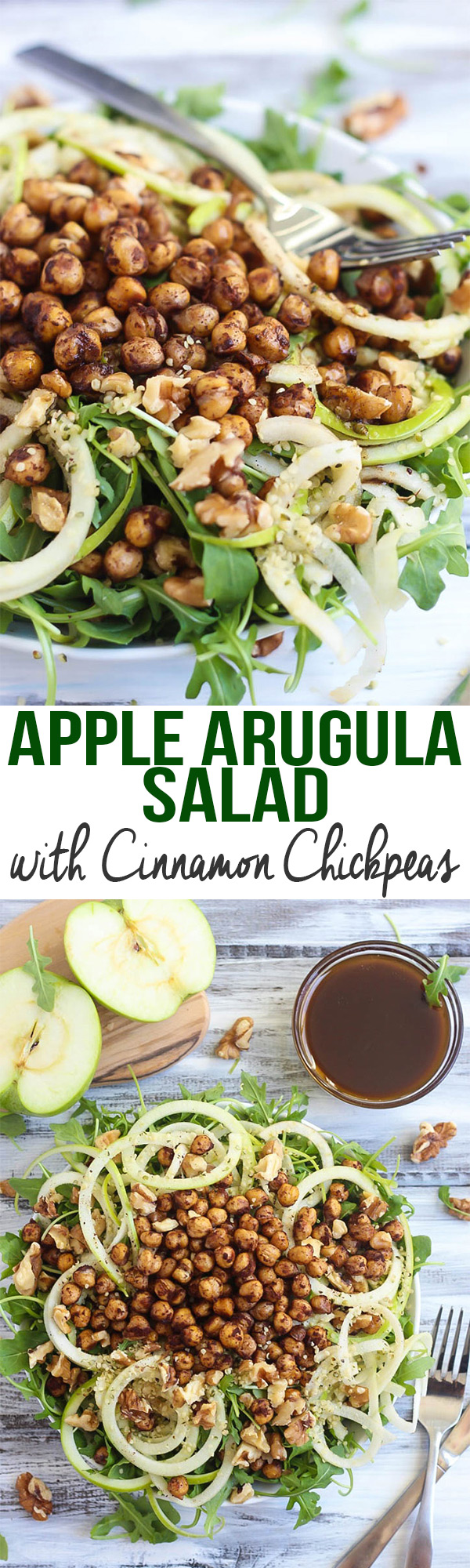 The natural sweetness of apple and cinnamon perfectly complement peppery arugula in this fresh Apple Arugula Salad. The chickpeas add a delicious crunch!