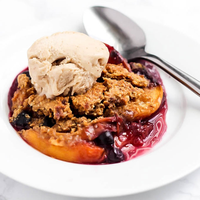 Vegan Peach Blueberry Cobbler (gluten-free)