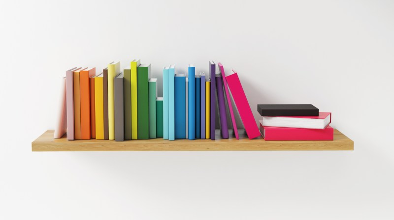 Shelf with Color Book on the White Wall, Concept, Render