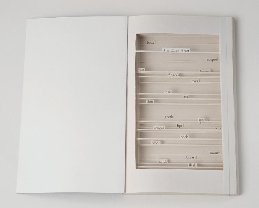 CAROLYN THOMPSON The Eaten Heart, 2013, Found book, 18 x 21.5cm