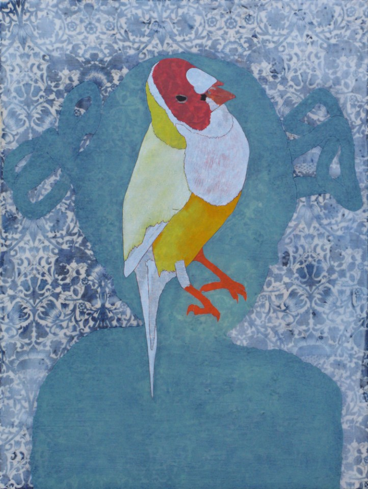 Isabella's Gouldian Finch, 2014, mixed media on panel, 40 x 30cm