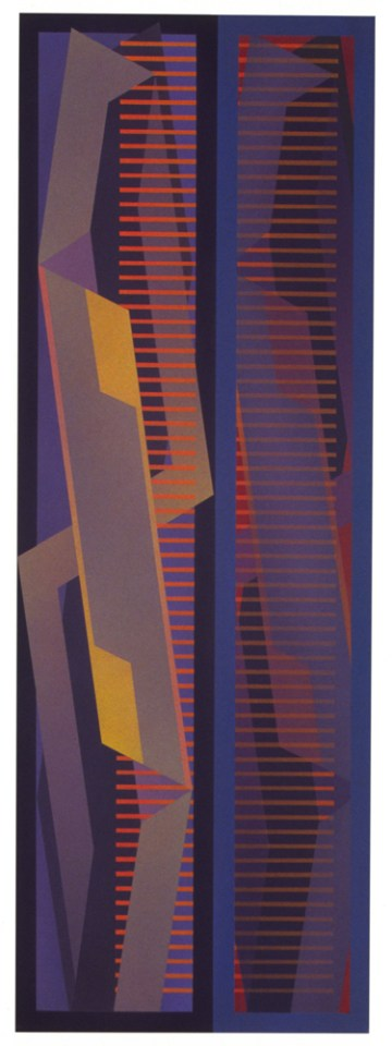 JULIA FARRER Tower I, 2002, acrylic on plywood 120 x 42cm