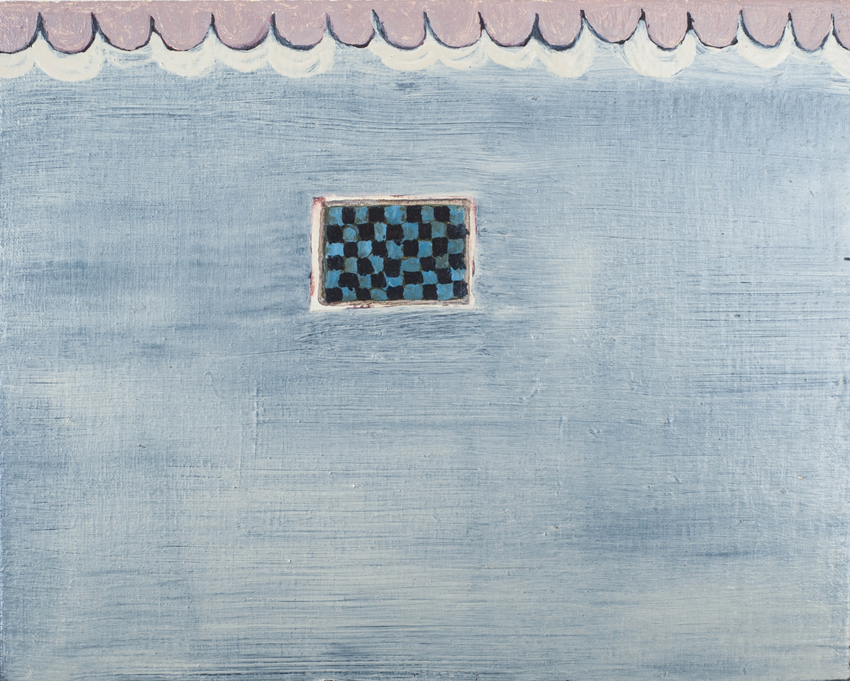 FIONNA MURRAY Little Blue Chequer Board, 2014, oil on linen on panel, 20 x 25cm