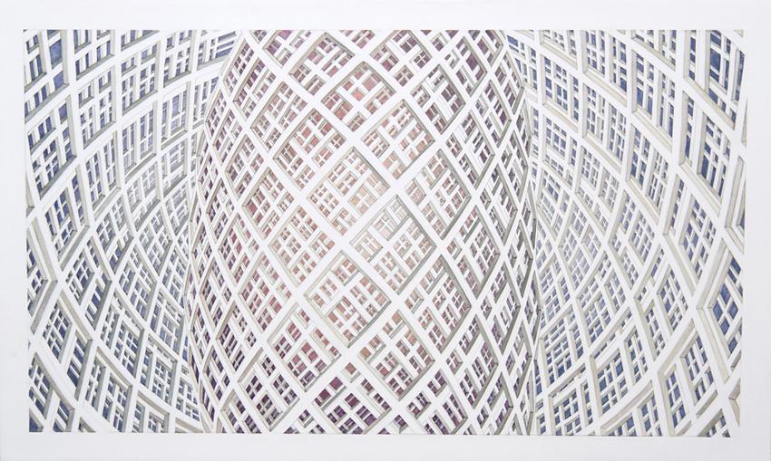 HARRIET MENA HILL At the Still Point II, 2014, oil on gesso, 30 x 50cm