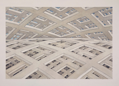 HARRIET MENA HILL Mapping the Grid, 2007 - 2008, oil on gesso, 50 x 70cm