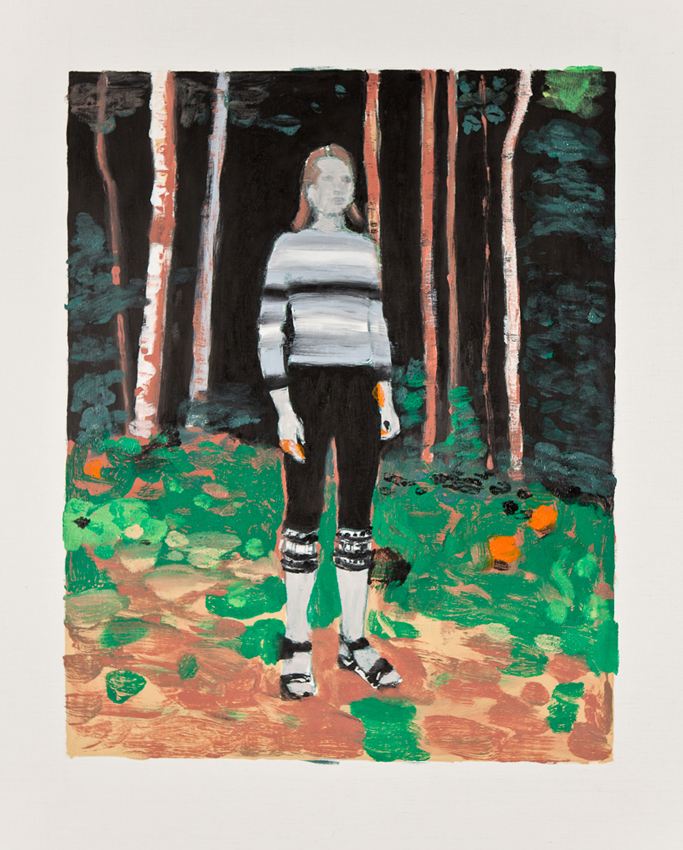 PETER RASMUSSEN Forest: Young Woman in Forest, 2011, oil on canvas, 97 x 81.5cm