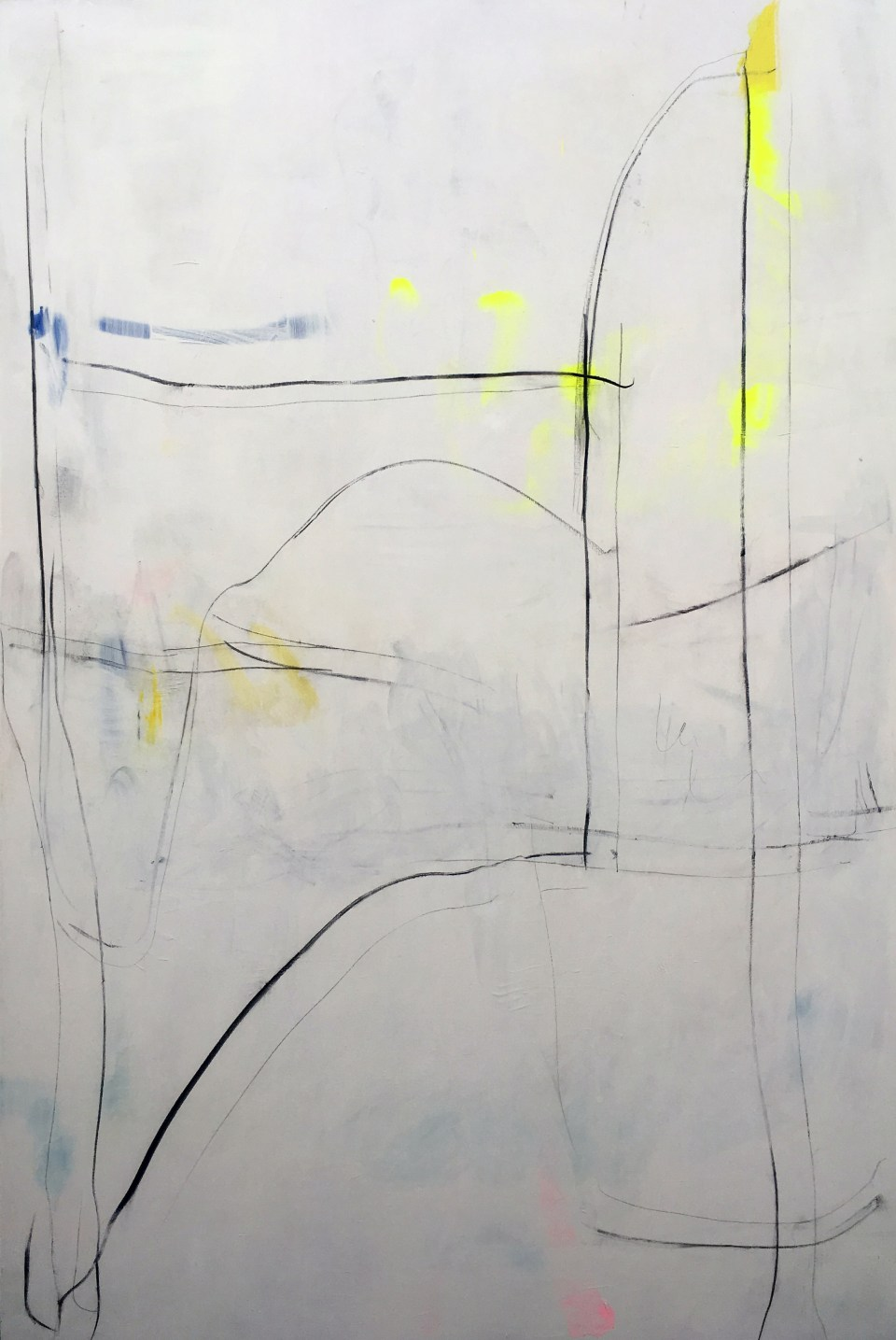 ALISON MCKENNA Untitled 2017, Acrylic, house paint, spray paint, charcoal and pencil on linen, 193 x 130cm