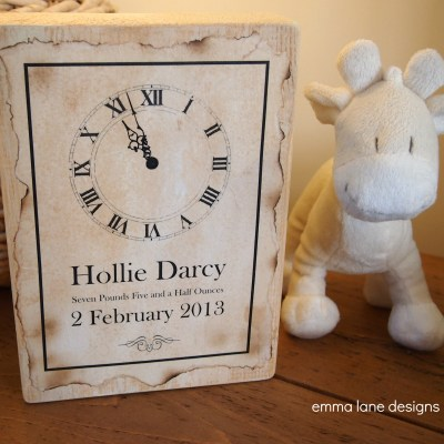 New Baby wooden keepsake