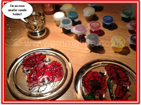 painted stained glass candle plates poppies