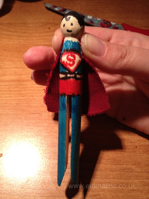 Superman peg doll by love emmaline