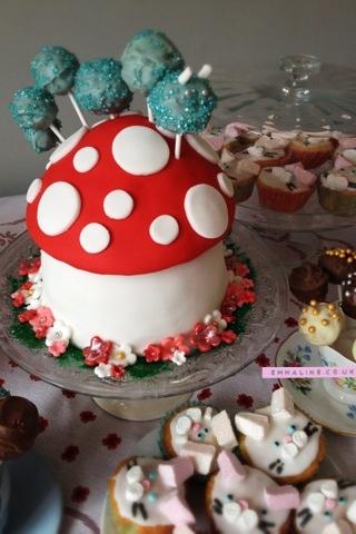 Alice in Wonderland caterpillar on mushroom cake.
