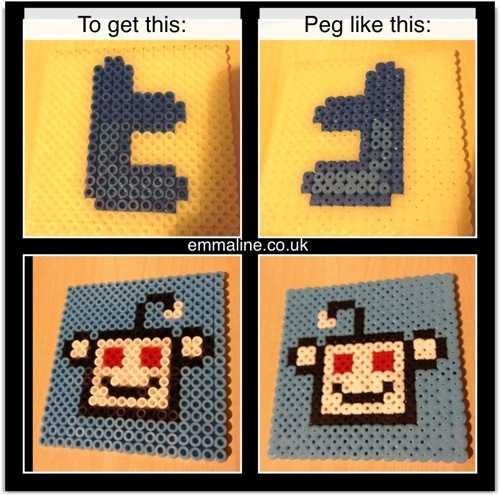 Social media icons with Hama beads from emmaline.co.uk
