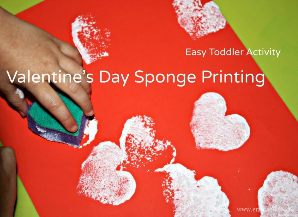 Easy Toddler Craft Activity. Valentines Day Heart Sponge Printing