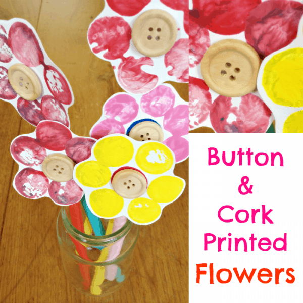 Button and Cork Printed Flowers