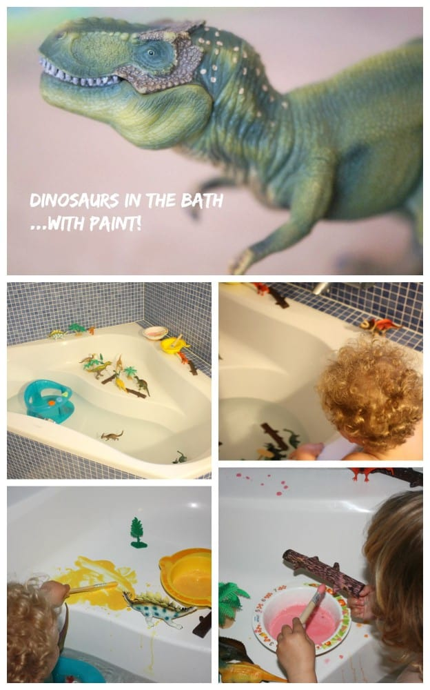 Dinosaurs in the bath with paint. Great play activity for bath time.