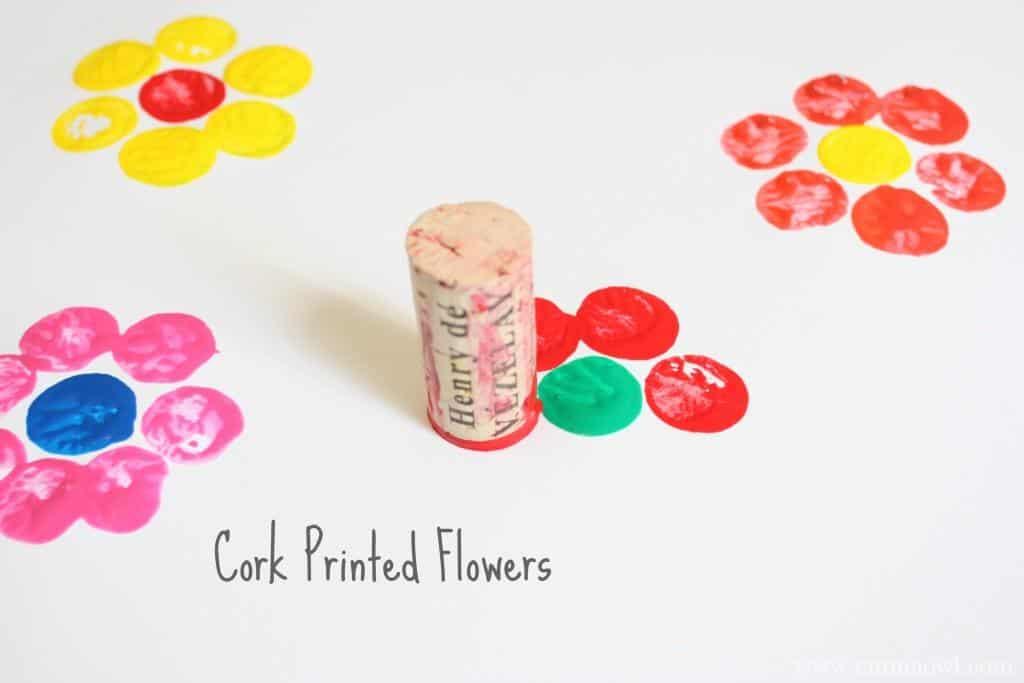 cork printed flowers