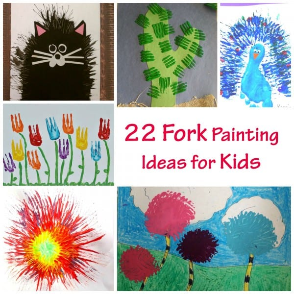 22 Fork Painting Ideas for Kids. Great Painting Technique - and lots of fun for kids of all ages!