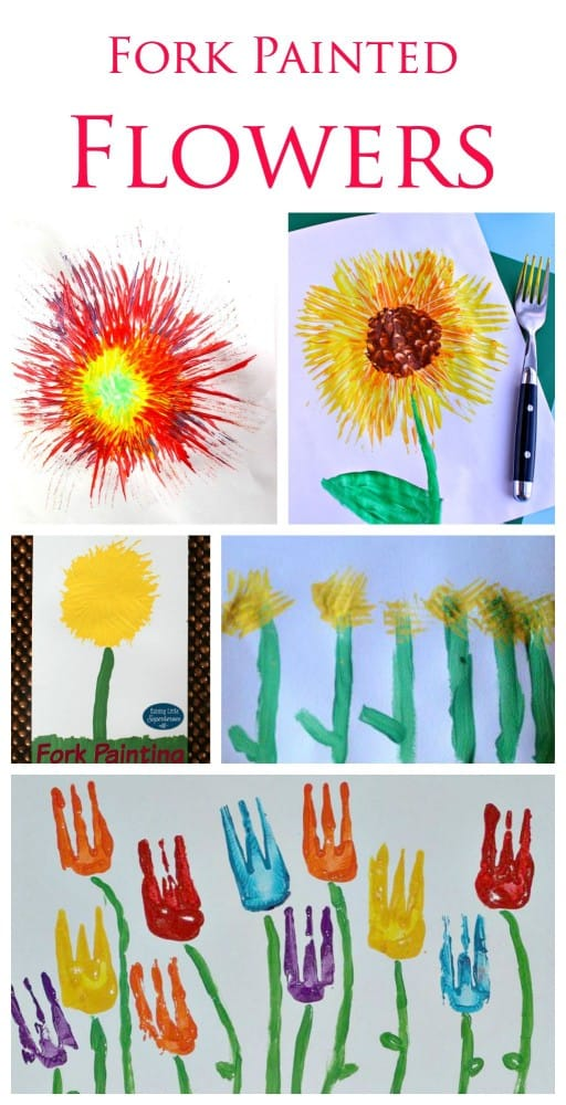 Fork Painted flowers. A great little painting technique for kids
