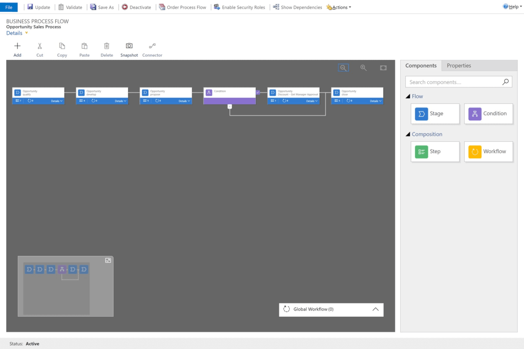 It's easier to create flows in Dynamics 365 with the Visual Process Designer Feature