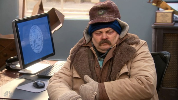 Sick Ron Swanson, courtesy of enserioaquiolosehabladeseries.files.wordpress.com (Staying Healthy: Cold Weather, Binge Drinking, and Exercising)