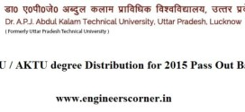 UPTU / AKTU Regarding Degree distribution of 2015 Pass Out Batch
