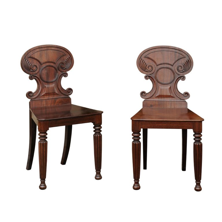 Pair Of Regency Style 1870s Carved Mahogany Hall Chairs With CScroll Backs Regency Style Furniture I40