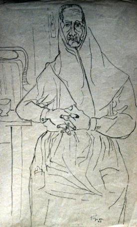 Édouard Pignon, Catalane, 1945 Encre de Chine sur papier 50 x 32 cm Collection particulière. Photographie : Bernard Matussière, Paris/ADAGP 2013.