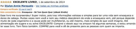 Depoimento de Djulye no site da Amazon