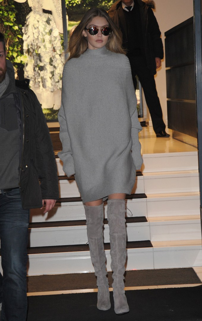 gigi-hadid-paris-couture-week, gigi hadid, paris, boots, thigh-high, over the knee, fall beauty favorites, fashion, style, beauty