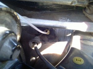 rover 75 engine under bonnet cable hole