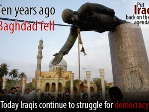 The April 9, 2003 toppling of Saddam Hussein's statue in Firdos Square in Baghdad shortly after the Iraq War invasion.