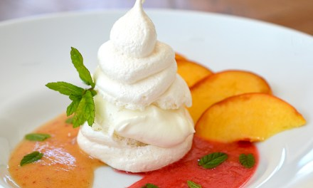 Vanilla Meringues with Fresh Peach & Raspberry Coulis