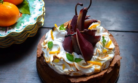 Flourless Chocolate Torte with Meringue and Red Wine Poached Pears {Gluten Free}