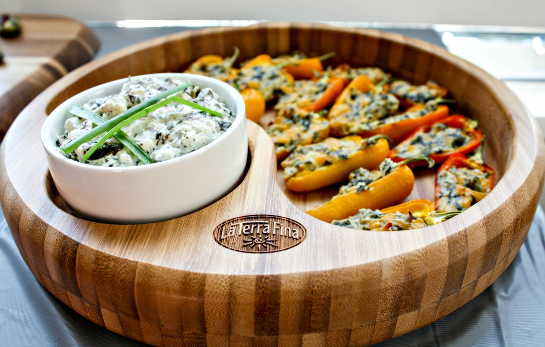 Easy Fall Entertaining: La Terra Fina Spinach And Kale Dip Stuffed Sweet Peppers