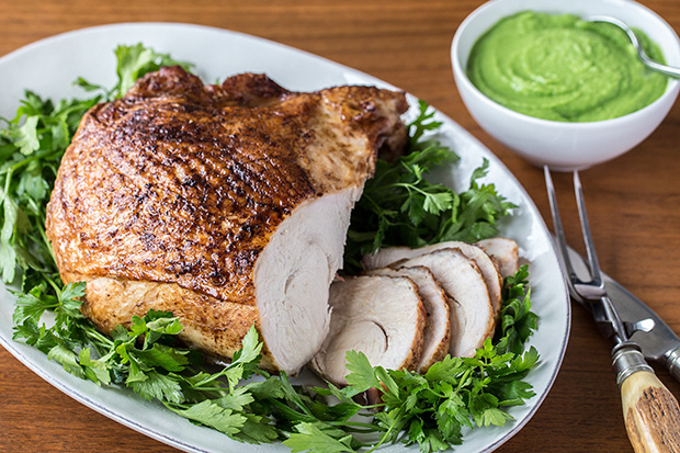 Duck-Fat Turkey Breasts with Green Onion Puree recipe