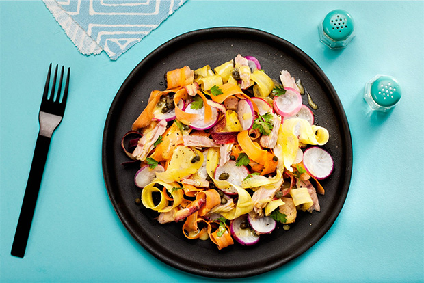 Radish and Carrot Salad with Tuna and Capers recipe