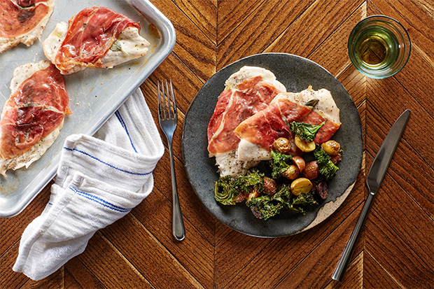 Sheet-Pan Chicken Saltimbocca With Roasted Potatoes and Crispy Kale recipe