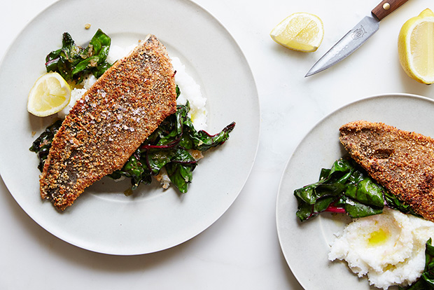 Almond-Crusted Trout with White Grits and Swiss Chard recipe