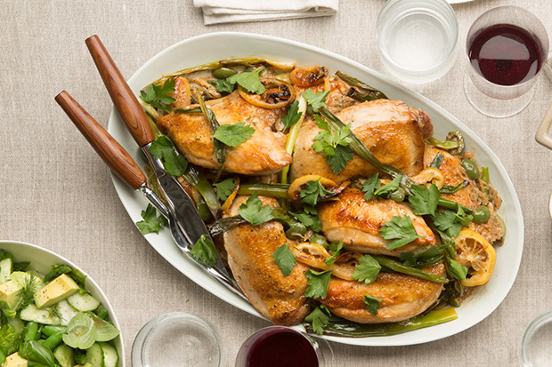 Roasted Chicken with Lemon, Ramps, and Green Olives recipe