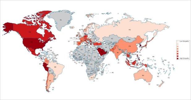 Les pays en rouge foncé ont une grande empathie, tandis que les pays en rose clair sont faibles en empathie. Les pays en gris ne sont pas étudiés en raison de la petite taille de l'échantillon. (Source Michigan University)