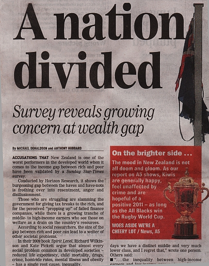 'A Nation Divided' - New Zealand Sunday Star-Times (23 January 2011)