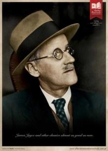 James Joyce con el cristal de la gafa roto