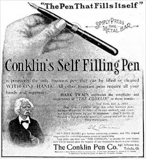 Otro anuncio de plumas protagonizado por Mark Twain