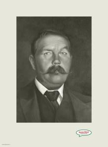 Arthur Conan Doyle en un anuncio para audiolibros