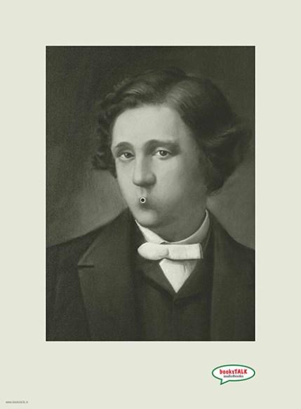Lewis Carroll en un anuncio para la promoción de audiolibros