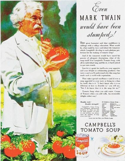 Mark Twain en una campaña para la sopa Campbell´s