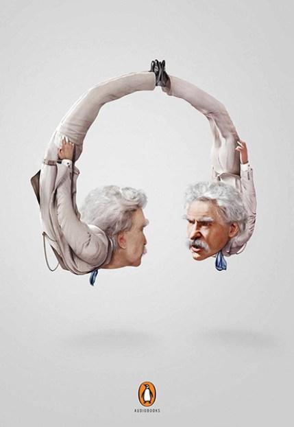 Mark Twain en un anuncio de audiolibros
