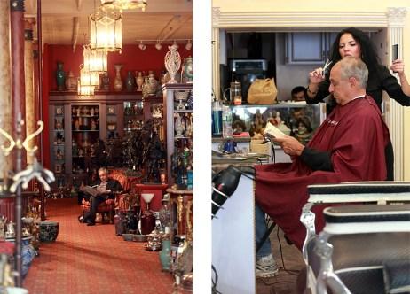Lectores en Nueva York: en un anticuario y en una barbería.