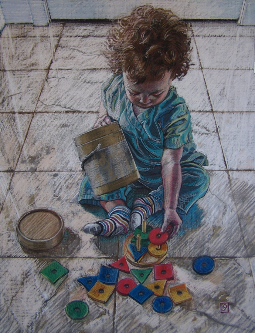 pastel on sanded paper, 24 5/8 x 18 5/8 inches