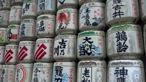 Barrels of sake, known as Nihonshu, donated to the Meiji Shrine.